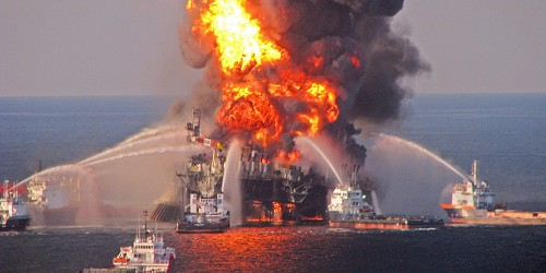 Deepwater Horizon Drilling Rig on Fire